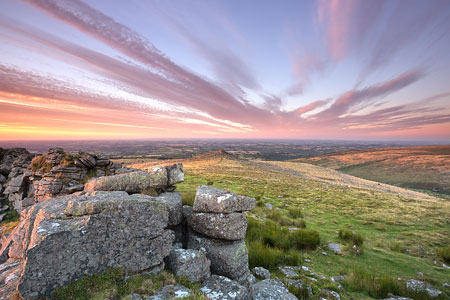 Dusky sunset over Belstone Tor, Dartmoor