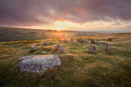 Sunset over Nine Maidens, Belstone, Dartmoor