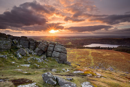 Sunset from Sheeps Tor overlooking Burrator Reservoir, Dartmoor