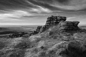 Black and white image of East Mill Tor, Dartmoor