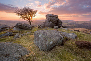 Sunset over Emsworthy Rocks, Dartmoor
