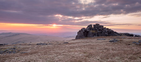 Deep pink sunset from Great Mis Tor, Dartmoor