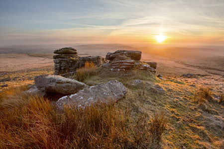 Hazy sunset from Hare Tor, Dartmoor