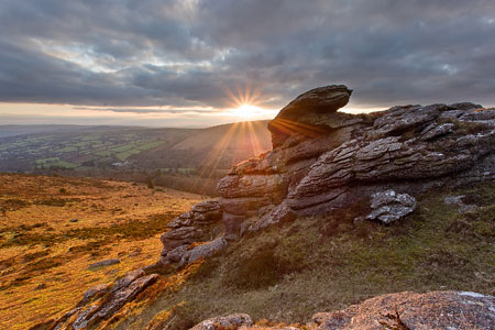 Golden sunset over Honeybag Tor, Dartmoor