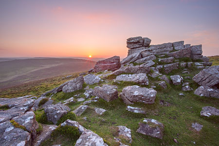Dusk over Hookney Tor, Dartmoor