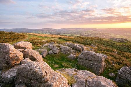 Sunset from Meldon Hill, Chagford, Dartmoor