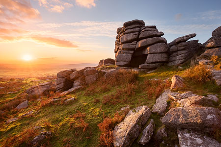 Stunning golden sunset over Pew Tor, Dartmoor
