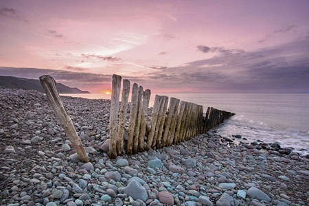 Beautiful pink sunset on Bossington Beach, Exmoor