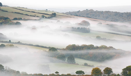 Blanket of mist in the Teign Valley