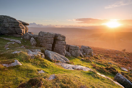 Golden glowing sunset from Yar Tor, Dartmoor