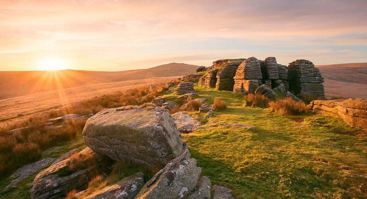 Sunset over Staple Tor, Dartmoor